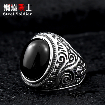 Steel soldier Size Green stone Stainless Steel Ring For Man Woman fashion jewelry