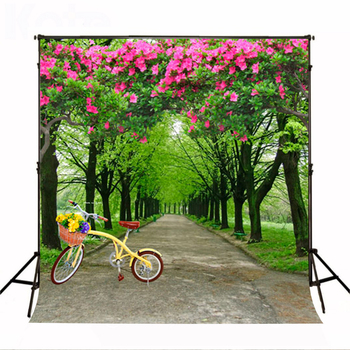 Wedding Photography Background Forest Road Flowers Party Photo Backdrops Tree Biking Wedding Background for Photography Studio