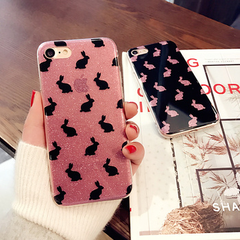 GAQOU IMD Bling Glitter Cases For iPhone 6 6s Plus Luxury Sparkling Silicone Cover Cute Rabbit Case For Apple iPhone 6s 6Plus